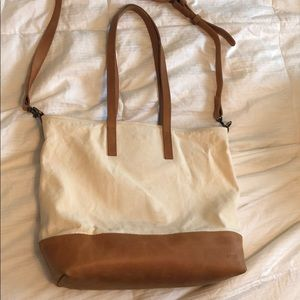 Abera crossbody leather and canvas tote